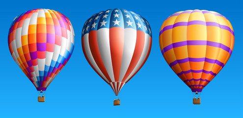 Hot air balloons set three