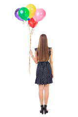 Back view of woman with colorful balloons