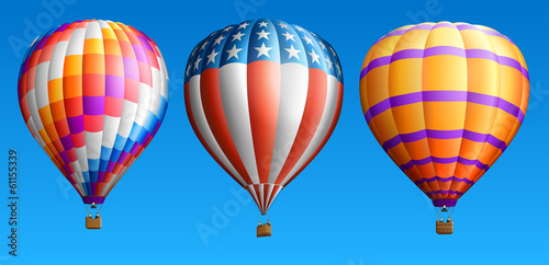 Fototapeta Hot air balloons set three