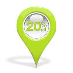 Sales round pin with 20% off isolated on white
