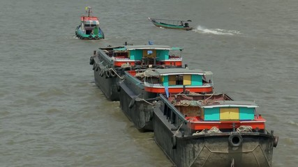 Barges on the Chao Phraya River,Bangkok