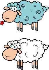 llustration of cartoon sheep for a design.