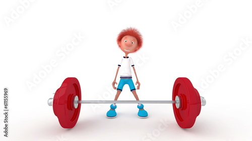 The 3D little boy with a bar