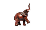 Wooden elephant statuette on white background