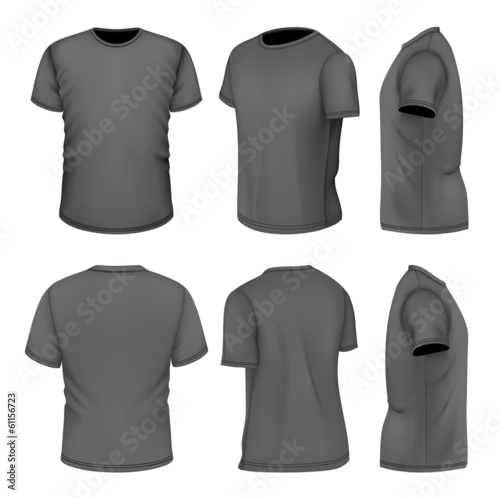 All six views men's black short sleeve t-shirt