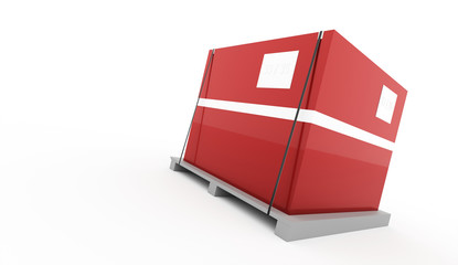 Red box on palette rendered isolated