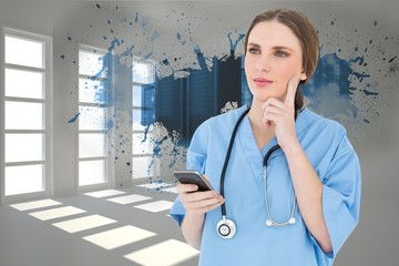 Composite image of young woman doctor thinking