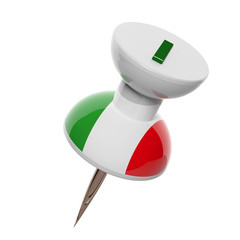 3D pushpin with flag of Italy isolated on white