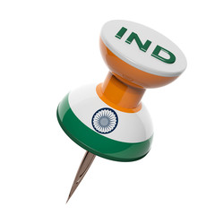 3D pushpin with flag of India isolated on white