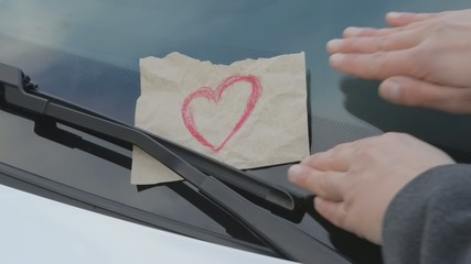 love affairs - sticky note on a windshield