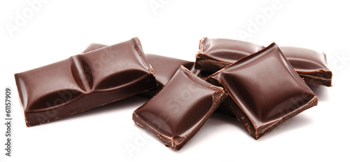 Dark chocolate bars stack isolated on a white