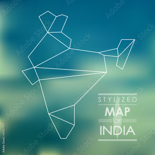 stylized map of India