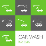 Carwash icon set Green