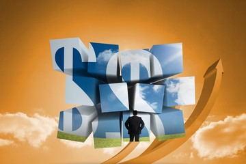 Composite image of businessman and dollar signs on abstract scre