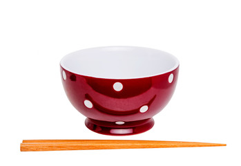 Chopstick and Red Bowl