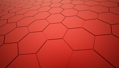 Red abstract hexagonal mesh background