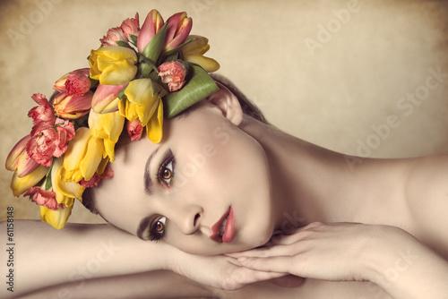 calm spring woman