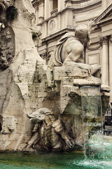"Detail of the ""Fountain of the Four Rivers"", Rome, Italy"