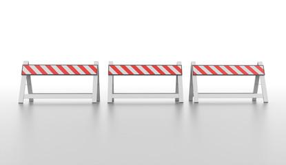 Three orange road barrier