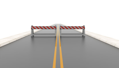 Road with two road barriers rendered