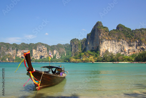 Traditional Thai boat on Railay beach, Krabi, Thailand