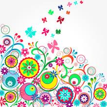 Fond floral avec des papillons
