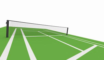 Green tennis court rendered