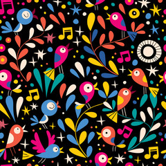 floral pattern with cartoon birds