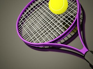 Purple tennis racket rendered