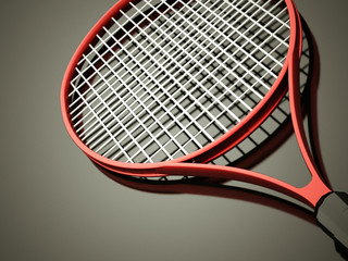 Red tennis racket rendered
