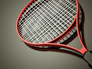 Red tennis racket rendered