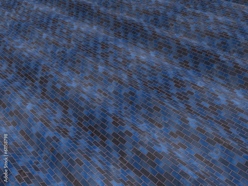 Wavy blue and black brickwall