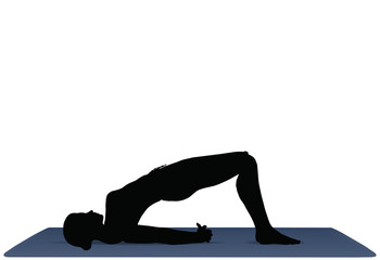 vector illustration of Yoga positions in Bridge Pose