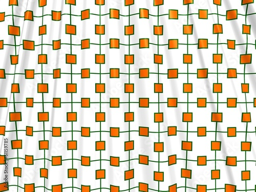Crumpled shower curtain with orange and green squares