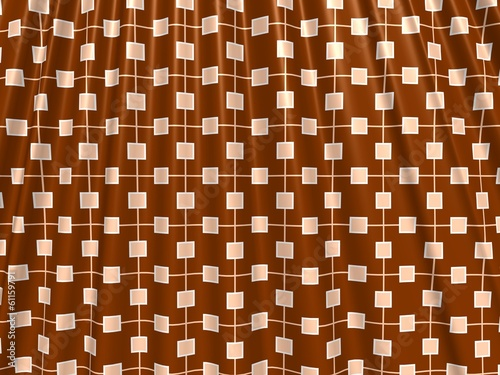 Brown crumpled printed curtain