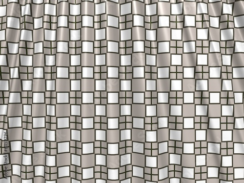 Gray crumpled shower curtain