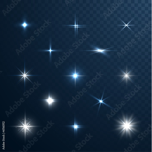 Fototapeta Stars and sparkles collection on transparent background