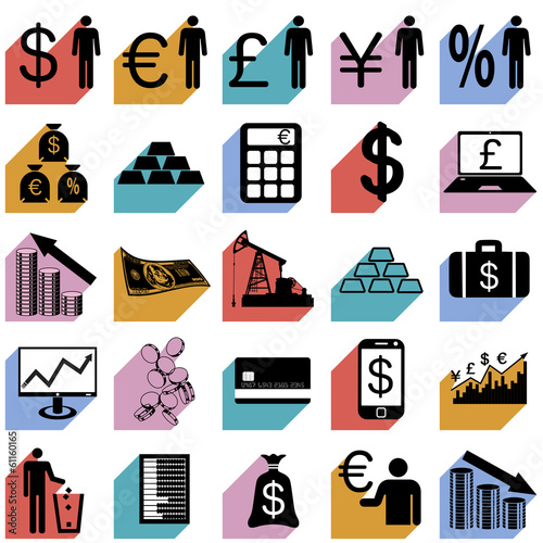 Collection flat icons with long shadow. Finance symbols. Vector