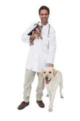 Happy vet smiling at camera with yorkshire terrier and yellow