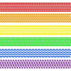 Set of detailed tire prints , a rainbow, vector illustration