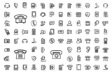 vector black phone icons set
