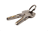 Keys from the ring on a white background
