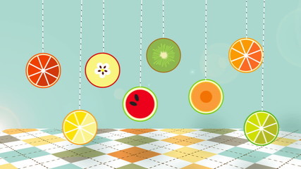 Dangling on strings tags with Fruit set animated.