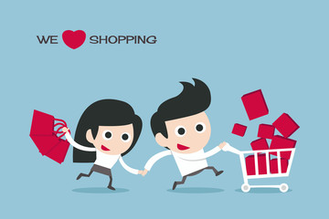 couple enjoy shopping