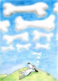 A dog daydreams of bone shaped clouds