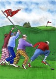 Golfers raise the flag as at Iwo Jima
