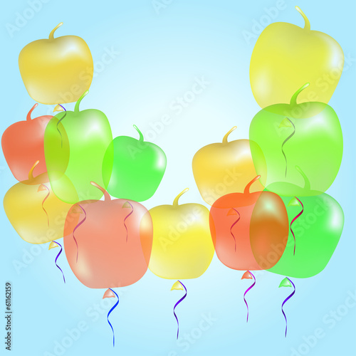 Background with multicolored balloons-apples