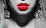 pretty woman with red lips - 61162363