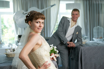 Portrait of newlyweds