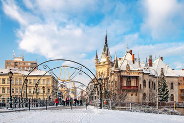 Jakab`s palace and Lovers` Bridge in Kosice, Slovakia
